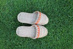 Footwear on the green grass Royalty Free Stock Photography