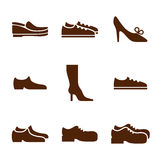 Footwear icon set, vector collection of shoes pictograms. Royalty Free Stock Image