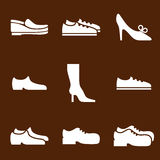 Footwear icon set, vector collection of shoes pictograms. Royalty Free Stock Photos