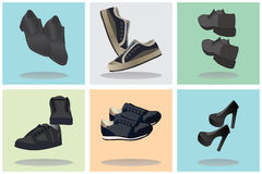 Footwear. Icons. Signs. Royalty Free Stock Photos