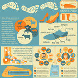 Footwear infographics elements. Easily edited Stock Images
