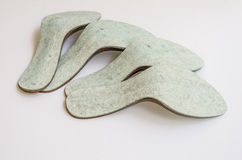 Footwear insoles. Inner insoles used in production of a women's sandal Royalty Free Stock Photo