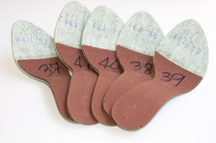 Footwear insoles. Inner insoles used in production of a women's sandal with size markings Royalty Free Stock Photo