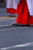 Beauty legs and chic Kimono dress, Japan. Stock Photo