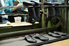 Footwear production - boots and rubber soles Stock Photography