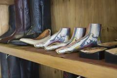Footwear In Row At Shoemaker Workshop Stock Image