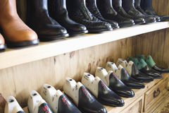 Footwear In Row At Shoemaker Workshop Royalty Free Stock Images