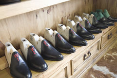 Footwear In Row At Shoemaker Workshop Stock Photography