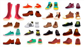 Footwear Set Vector. Fashionable Shoes. Boots. For Man And Woman. Web Icon. Flat Cartoon Isolated Illustration royalty free illustration