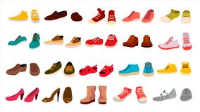 Footwear Set Vector. Stylish Shoes. For Man And Woman. Sandals. Different Seasons. Design Element. Flat Cartoon Isolated. Footwear Set Vector. Fashionable Shoes Stock Photography