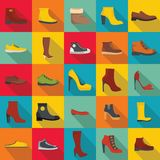 Footwear shoes icon set, flat style. Footwear shoes icon set. Flat illustration of 25 footwear shoes vector icons for web Stock Photo