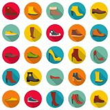 Footwear shoes icon set, flat style. Footwear shoes icon set. Flat illustration of 25 footwear shoes vector icons circle isolated on white Royalty Free Stock Photo