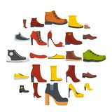 Footwear shoes icon set isolated, flat style. Footwear shoes icon set isolated. Flat illustration of 25 footwear shoes vector icons for web Stock Image