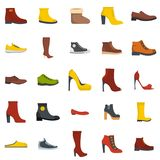 Footwear shoes icon set isolated, flat style. Footwear shoes icon set isolated. Flat illustration of 25 footwear shoes vector icons for web Stock Photography