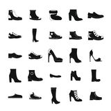 Footwear shoes icon set, simple style Royalty Free Stock Photos