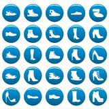 Footwear shoes vector icons set blue, simple style. Footwear shoes icons set blue. Simple illustration of 25 footwear shoes vector icons for web Royalty Free Stock Photo