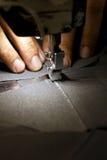 Footwear stitching machine. Footwear part with single needle stitching operation Stock Photography