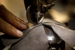 Footwear stitching machine. Footwear part with single row stitching operation Royalty Free Stock Images