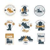 Footwear store logo set, shoe style premium quality estd 1963 vector Illustrations Stock Image