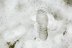 Footwear trace on snow. Royalty Free Stock Photo