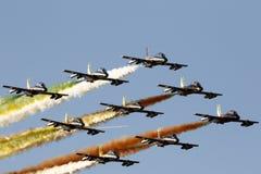Força aérea especial italiana da unidade - Frecce Tricolori - Fotografia de Stock