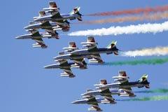 Força aérea especial italiana da unidade - Frecce Tricolori - Foto de Stock