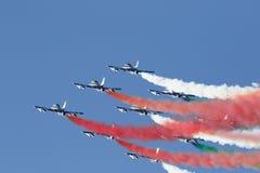 Força aérea especial italiana da unidade - Frecce Tricolori - Fotos de Stock