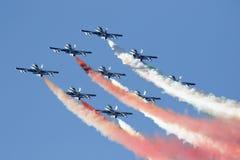 Força aérea especial italiana da unidade - Frecce Tricolori - Imagem de Stock Royalty Free
