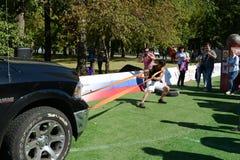 A força desloca o carro no monte de Poklonnaya Imagens de Stock
