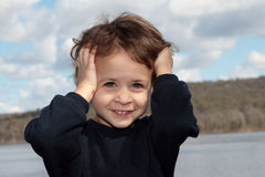 Forçado e sorriso Fotografia de Stock