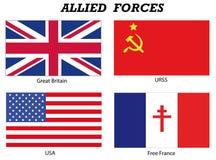 Forças aliadas na guerra de mundo 2 Foto de Stock Royalty Free