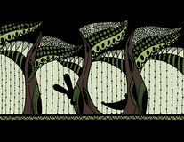 Forêt abstraite avec des animaux Zentagle Vecteur Photographie stock libre de droits