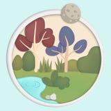 Forêt avec le grand buisson d'arbres et le style de papier de coupe d'art de canaux de rivières illustration stock