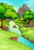Forêt avec un fond de rivière illustration de vecteur