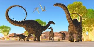 Forêt d'Apatosaurus Images libres de droits