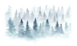 Forêt d'aquarelle dans un brouillard illustration stock