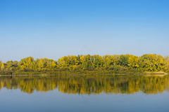 Forêt d'automne à travers la rivière Image libre de droits
