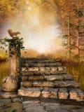 Forêt d'automne avec les escaliers en pierre Photographie stock libre de droits