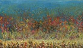 Forêt d'automne partant dans la distance fleuve de peinture à l'huile d'horizontal de forêt image libre de droits