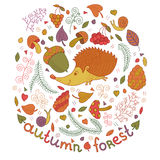 Forêt d'automne réglée dans le vecteur La collection de chute avec le hérisson, feuilles, branches, baies, répand etc. Dans le st Photographie stock