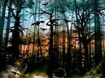 Forêt d'horreur de Halloween avec des battes - paysage foncé Image libre de droits