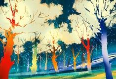 Forêt d'imagination avec les arbres colorés Images stock
