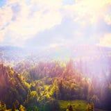 Forêt de conte de fées dans le rétro style Paysage de montagne, fond de nature Photo stock