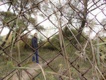 Forêt de jeune homme au printemps photo stock
