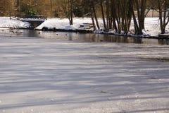 Forêt de Milou, arbres avec de la neige sur des branches, lac glacé Images stock