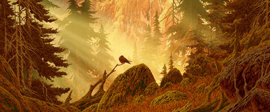 Forêt de montagne de cascade avec l'oiseau illustration stock