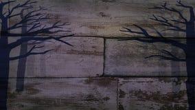 Forêt de mystère sur le vieux mur Photographie stock