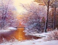 Forêt de Noël avec la rivière Photographie stock libre de droits