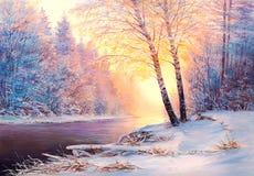 Forêt de Noël avec la rivière Images stock