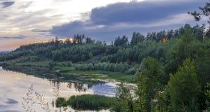Forêt de nuit de matin de lac Photo stock